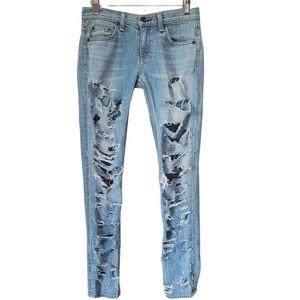 RAG & BONE Jeans The Dre Destroyed Low Rise Blue Denim Slim Lightwash Size 25